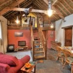 Interior view of Stables barn conversion, West Woolley Farm